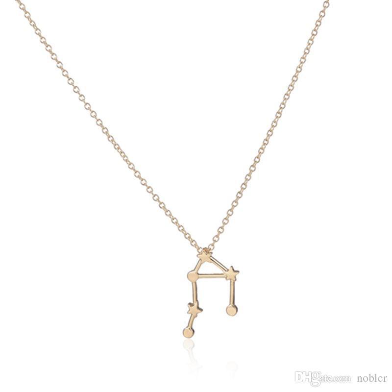 Wholesale Minimalist Libra Necklace In Gold Silver Zodiac Sign