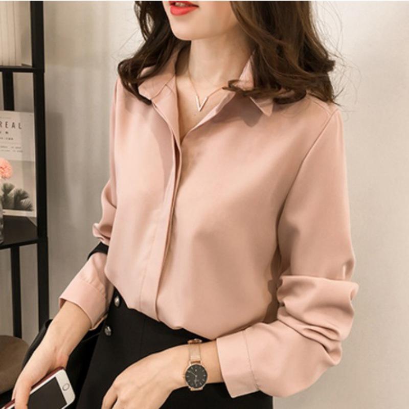 802e4e083aae Camisas simples para mujer Dama Camisa elegante Blusa de gasa Sólido Manga  larga Oficina Damas Camisas de moda Tops