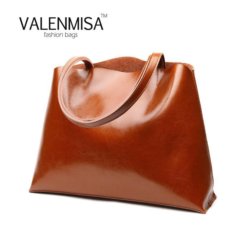 8953a04b0f29d Shopping Bag 2018 Women Shoulder Bags Genuine Leather Handbags ...