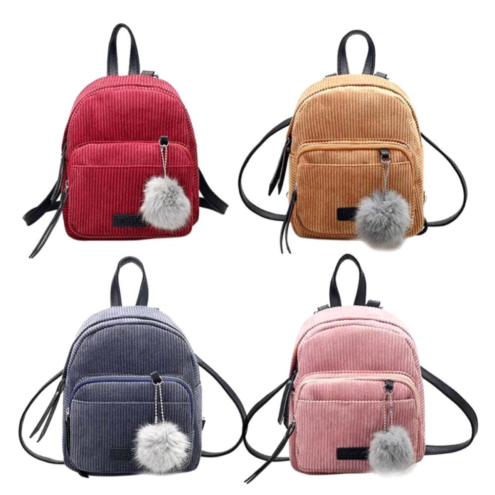 14889aacd085 Women Backpack Cute Mini Backpack Girls Teenage Small Backpacks Women  Bookbags Fur Ball Travel Velvet School Shoulder Bag Running Backpack Osprey  Backpack ...