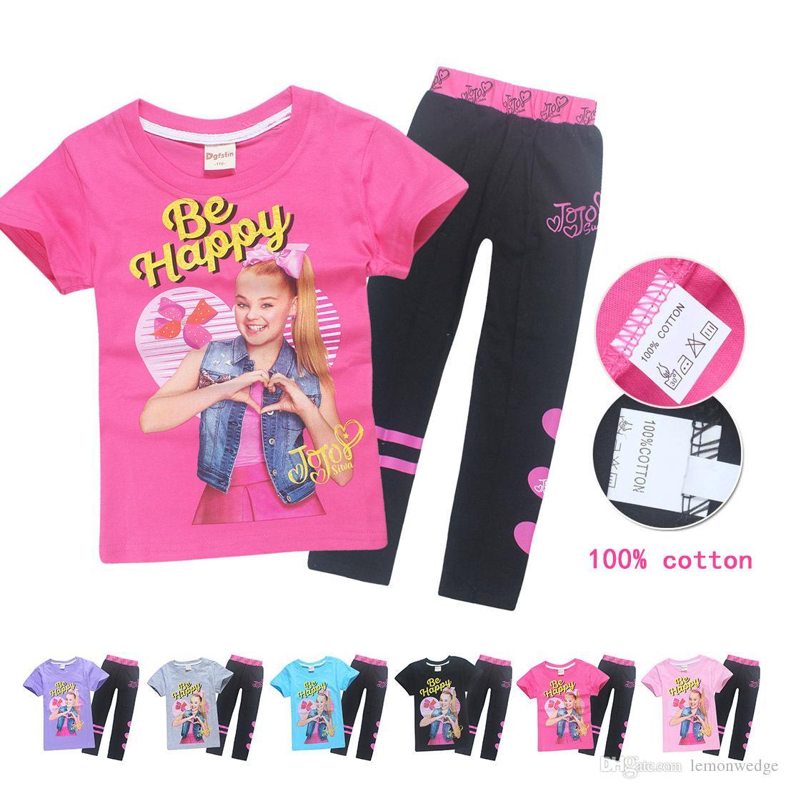 bf8e968680326 Cotton Children Girls Summer Sport Suit Set Top + Pants Choses Teen Clothes  Kids sets JOJO SIWA