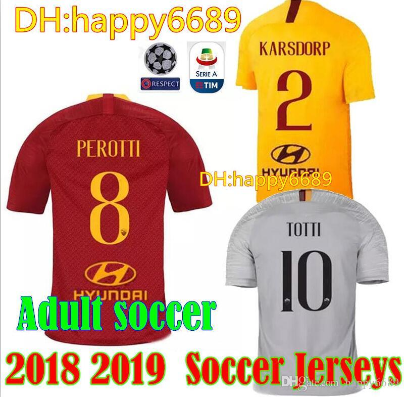 a18be89ba 18 19 ROME Soccer Jersey Home DZEKO 2018 2019 DE ROSSI PEROTTI ...