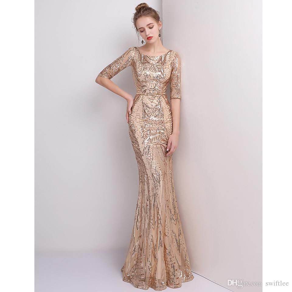 CEEWHY Abiye Half Sleeve Prom Dresses Mermaid Gold Evening Dress ...