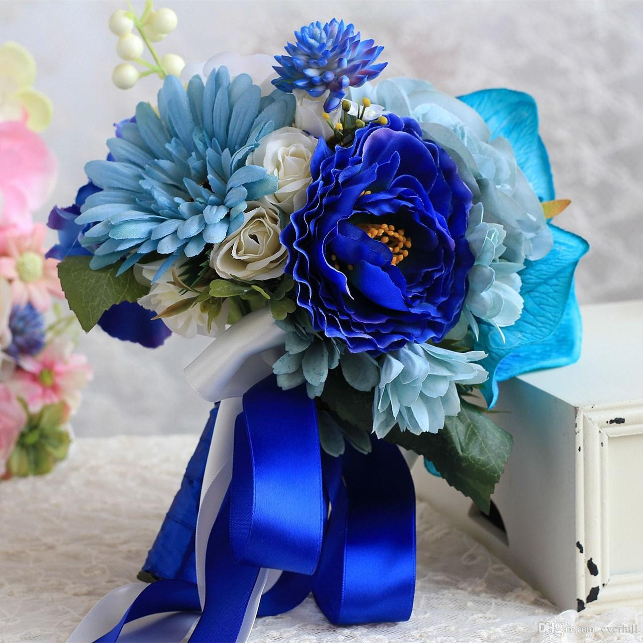 Janevini Royal Blue Wedding Bouquets 2018 Artificial Roses Wedding ...