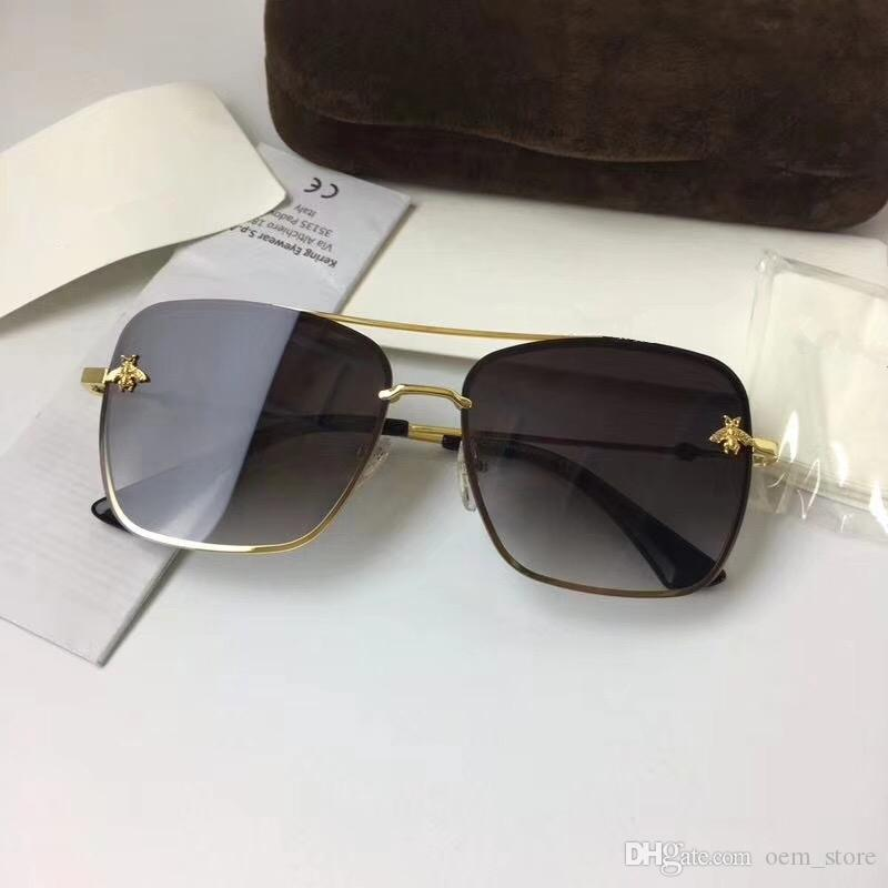 e89e150633c0 2018 Luxury UV400 Sunglasses With Bee Design For Women Famous Brand  Designers Sunglass Fashion Retro Eyeglass For Beach Party Street Online  Eyeglasses ...