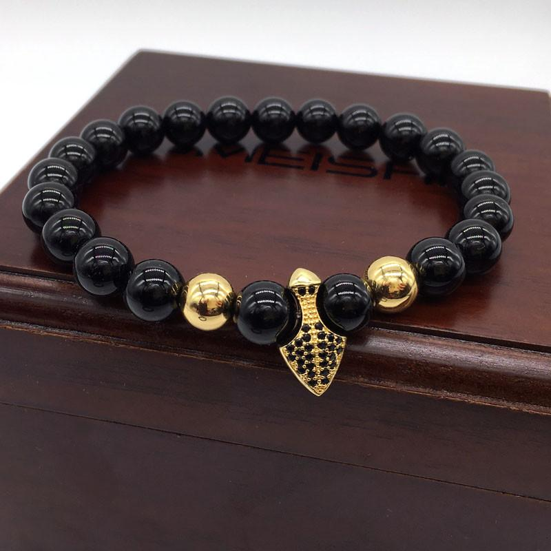 New Fashion Design Jewelry Anchor Men Bracelet Nature Stone Bead Shield Charm Bracelets For Men Jewelry