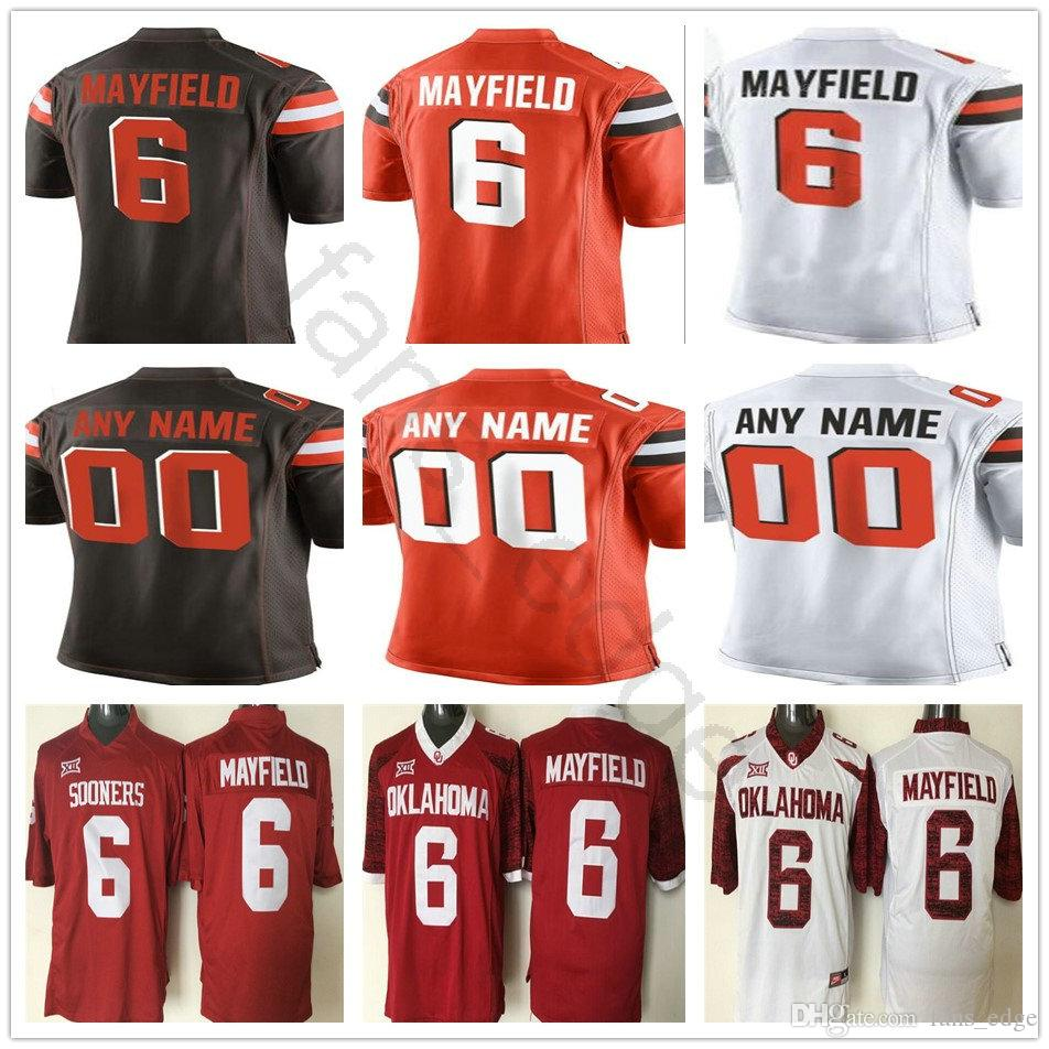 ... Mens 6 Baker Mayfield Jersey Orange Brown White Nick Chubb Denzel Ward  Stitched  Troy Aikman Dallas Cowboys Mitchell Ness Retired Player Name  Number ... dd6906f44