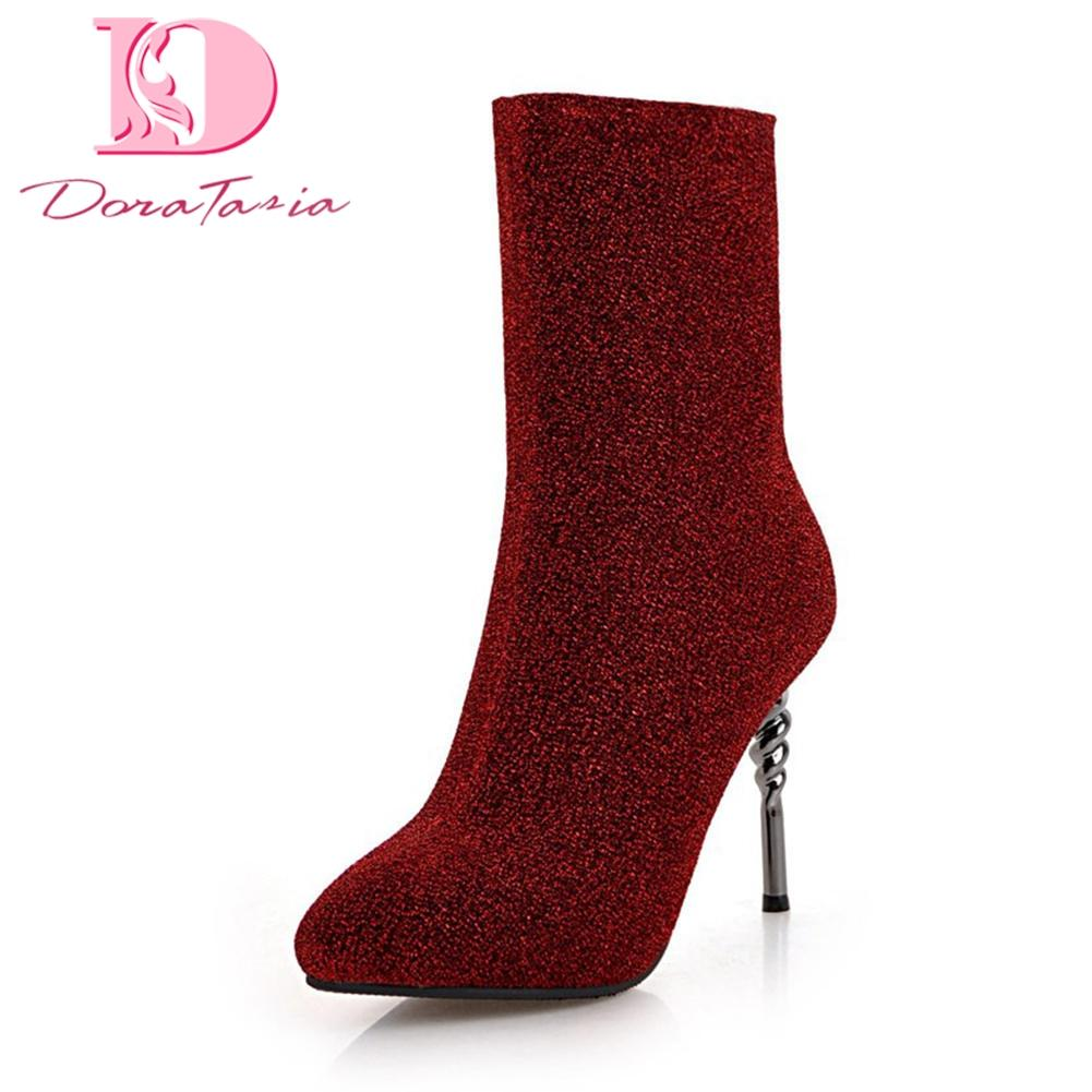 e5235b89a0b3 Doratasia 2018 Large Size 32 43 Hot Sale Sock Boots Women Shoes Thin High  Heels Slip On Ankle Boots Female Shoes Woman Shoes For Sale Cheap Cowgirl  Boots ...