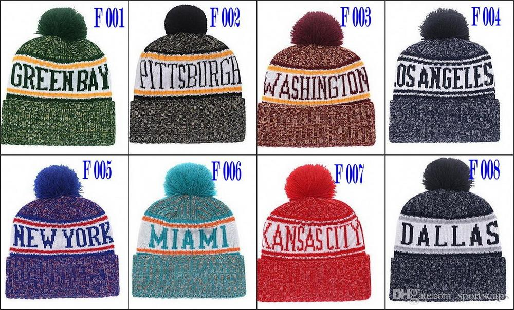 57da1fd78 New Beanies 2018 Football Sideline Cold Weather Sport Knit Hat Seattle Pom  Pom Hats Football Beanies Team Knits Mix Match Order All Caps Knitted Hats  Knit ...