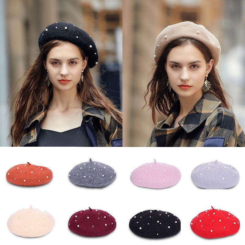 de5d7012ee75e 2019 Plain Beret Hat 100% Wool French Beret Winter Autumn Women Girls Fashion  Pearl Hats From Value333