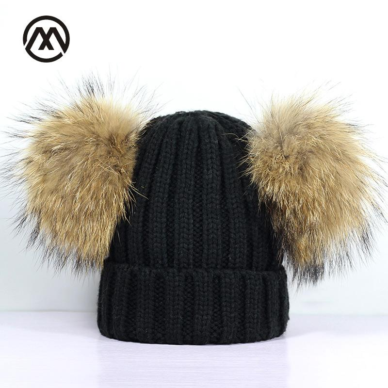 df3f035a0d1 Winter New Children S Double Raccoon Fur Pompom Knit Hats Girl Outdoor Warm  And Comfortable Loose Cotton Slouchy Beanie Caps UK 2019 From Sunnystars
