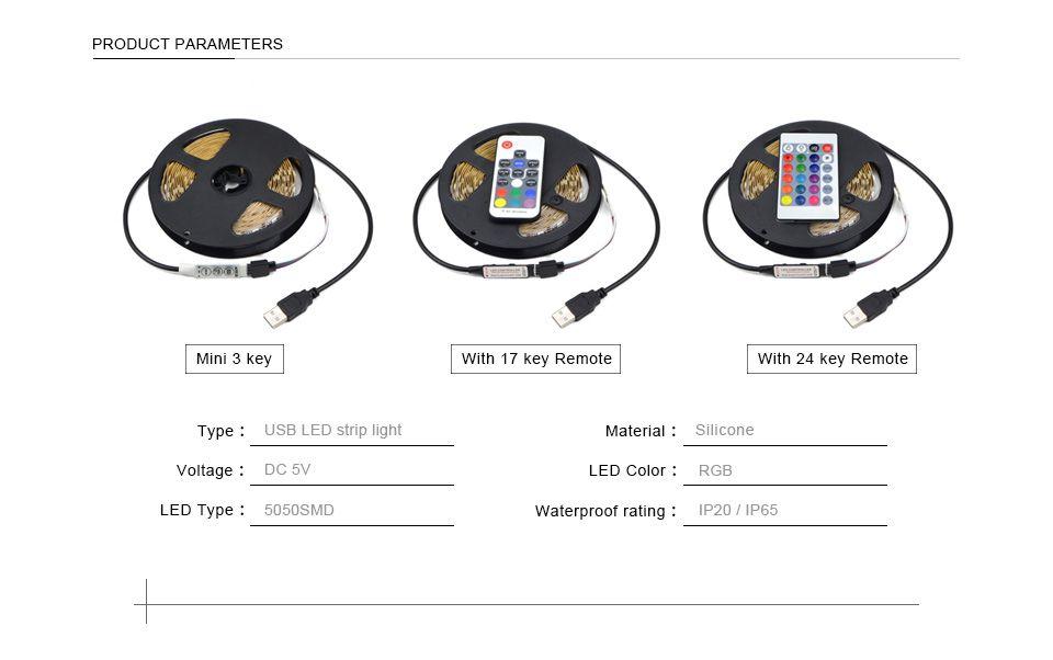 DC 5V 5050 SMD RGB USB كبل الطاقة LED قطاع الخفيفة USB LED ضوء شرائط مصباح الشريط المرن مع جهاز التحكم عن بعد 1M 2M 3M 4M 5M