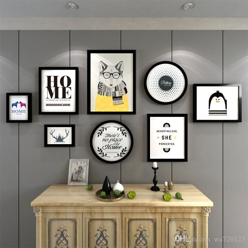 2018 Wall Mounted Rectangle Home Black Multi Picture Photo Frames ...