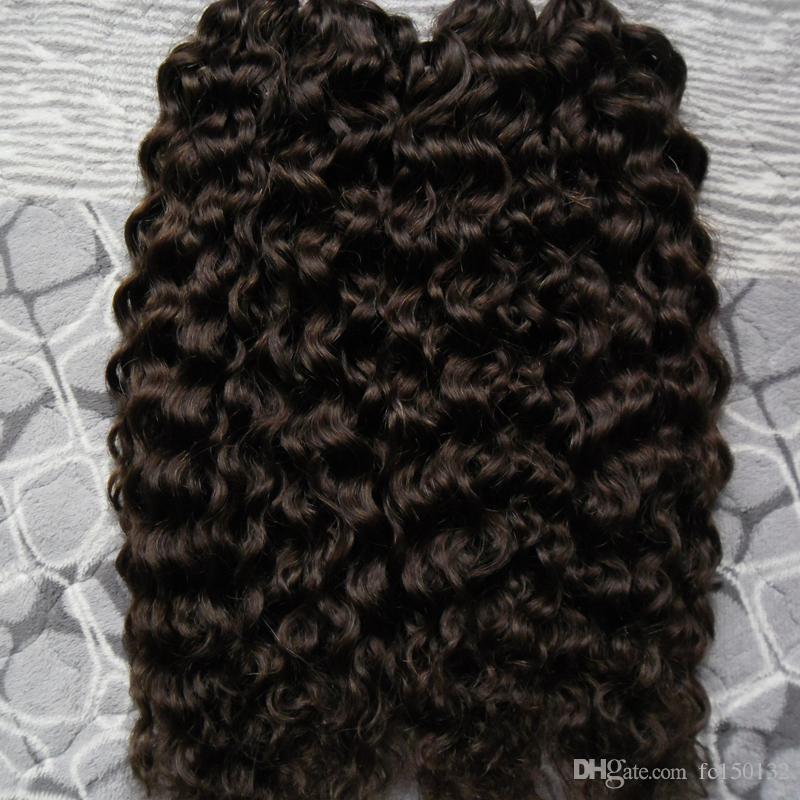 Unverarbeitete brasilianische verworrene lockige jungfräuliche Haare I Tipp Haarverlängerung 200g / Stränge vorgebftete menschliche Haarverlängerungen # 2 dunkelst braun