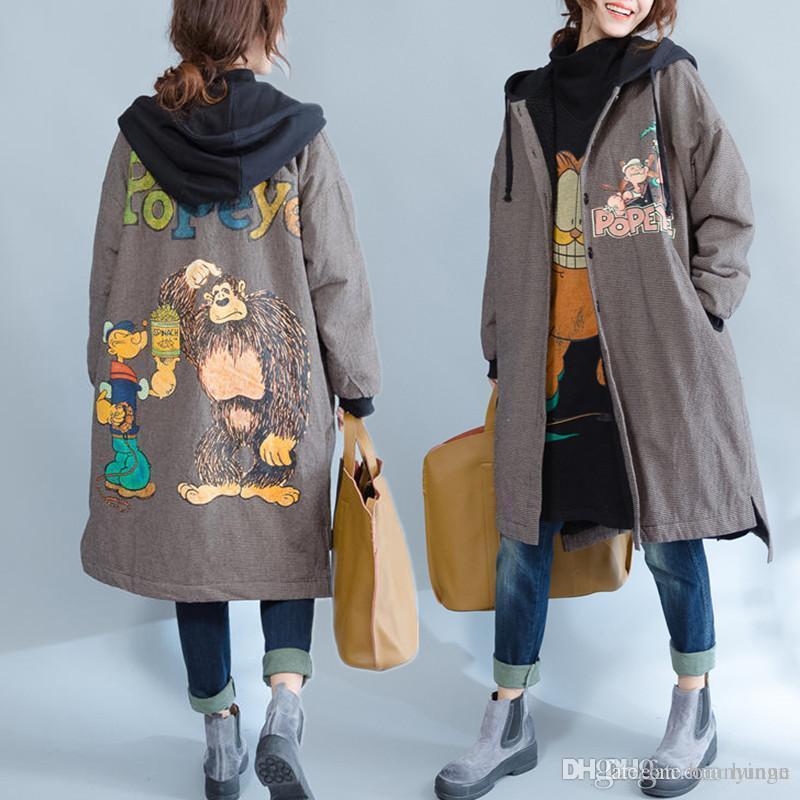 e34c4653df6 Wholesale Plus Size 5XL 6XL 2016 Autumn Women Fashion Kawaii Cartoon Plaid  Fleece Outwear Ladies Female Large Long Thick Loose Jacket Coat Outdoor  Jacket ...