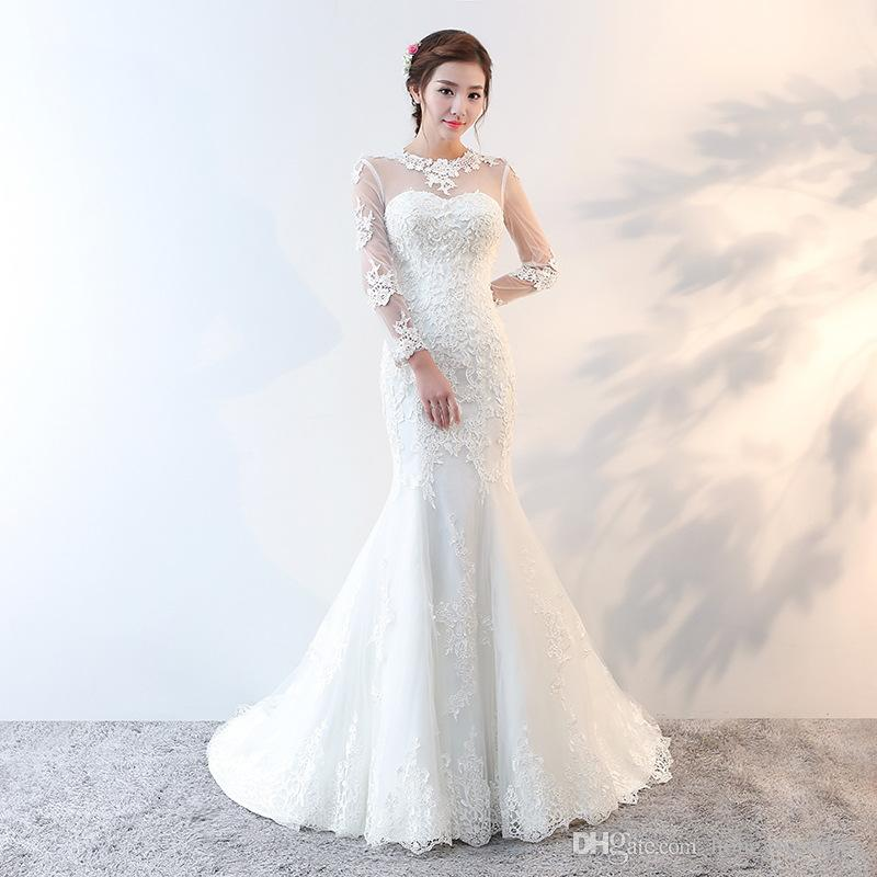 Vintage Mermaid Wedding Dresses 2018 Long Sleeves Wedding Gowns ...