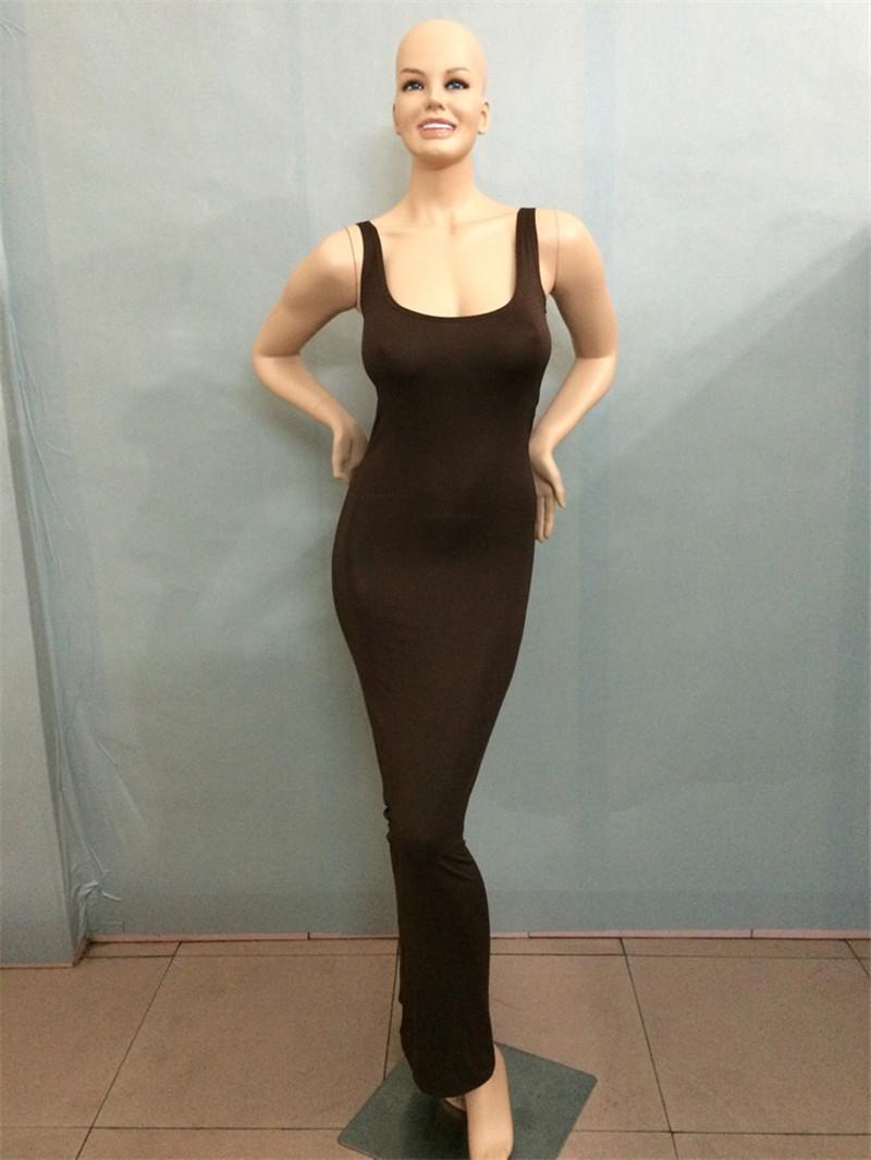 Doyerl Summer Sexy Women Long Dress Slim Tank Dress Solid girocollo senza maniche alla caviglia Lunghezza Casual Basic Maxi Dress le signore