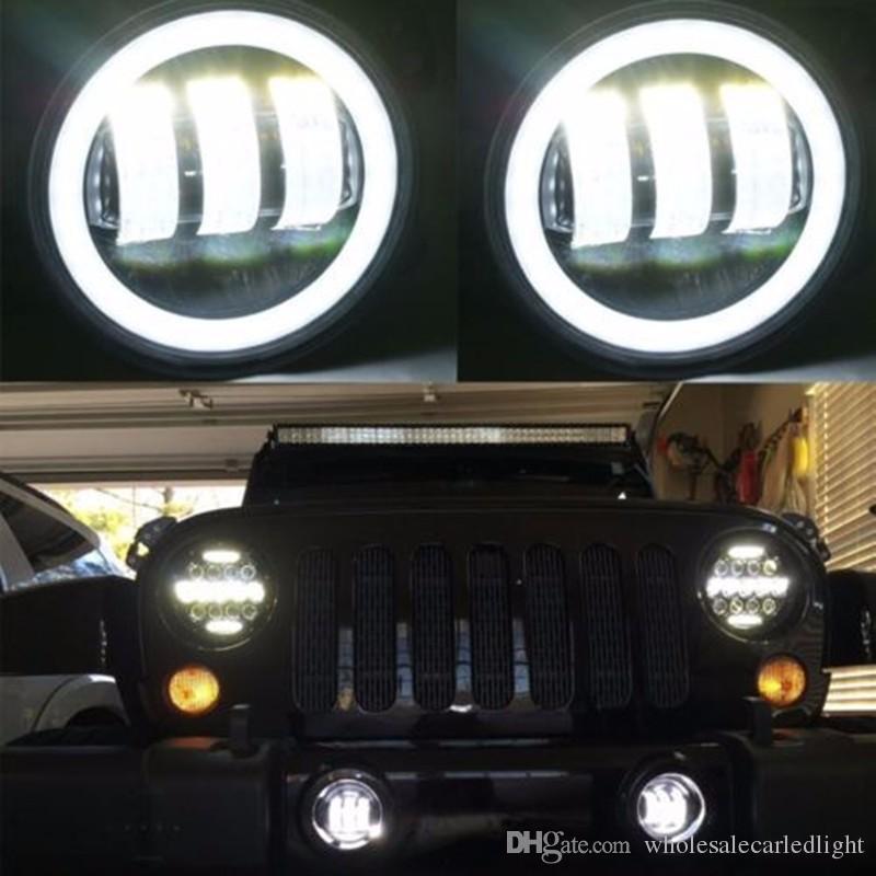 Für Jeep wrangler nebelscheinwerfer 60 Watt 4 ZOLL Runde led nebelscheinwerfer Grün halo Ring Weiße lampe DRL Birne engelsaugen für JK JKU TJ LJ