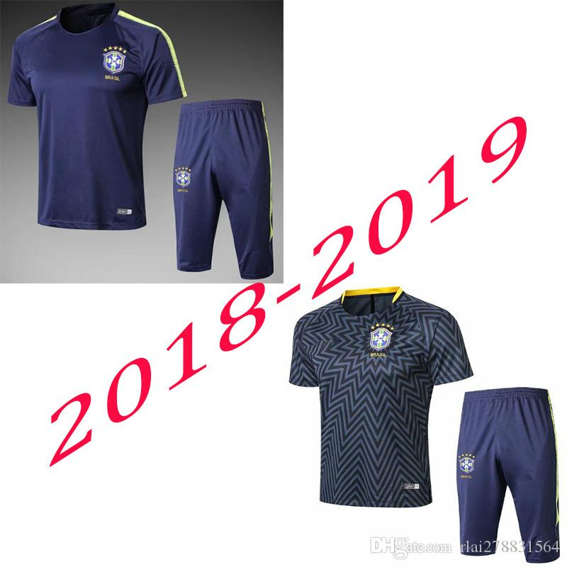 fc5400b08 2019 2018 World Cup Brazil Soccer Tracksuit Shirt 18 19 Brazilians NEYMAR  JR Maillot Short Slevees 3 4 Pants Men Football Training Suit Adult Kit  From ...