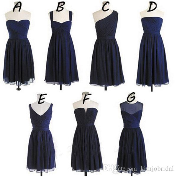 043ef250fa3eb Navy Blue Short Bridesmaid Dresses Mismatched Chiffon 2018 Cheap Wedding  Guest Dresses Mint Green Bridesmaid Dresses Teal Bridesmaid Dresses From ...