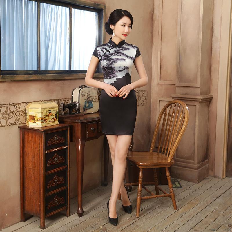 71c8817083aa0 Acheter Hote Sale Noir Satin Bouton Fait Main Col Mandarin Cheongsam  Chinois Traditionnel Imprimé Qipao Fleur Robe Courte S XXL LGD94 De  31.86  Du Dayup ...