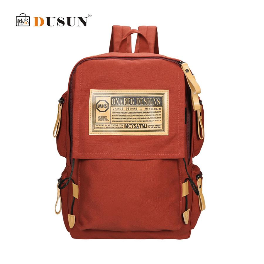 f72e3ea99a46 DUSUN Canvas Backpacks Women Square School Bag Large Capacity Male Escolar  Female Korean College Student Travel Backpack Cute Backpacks Hiking Backpack  From ...
