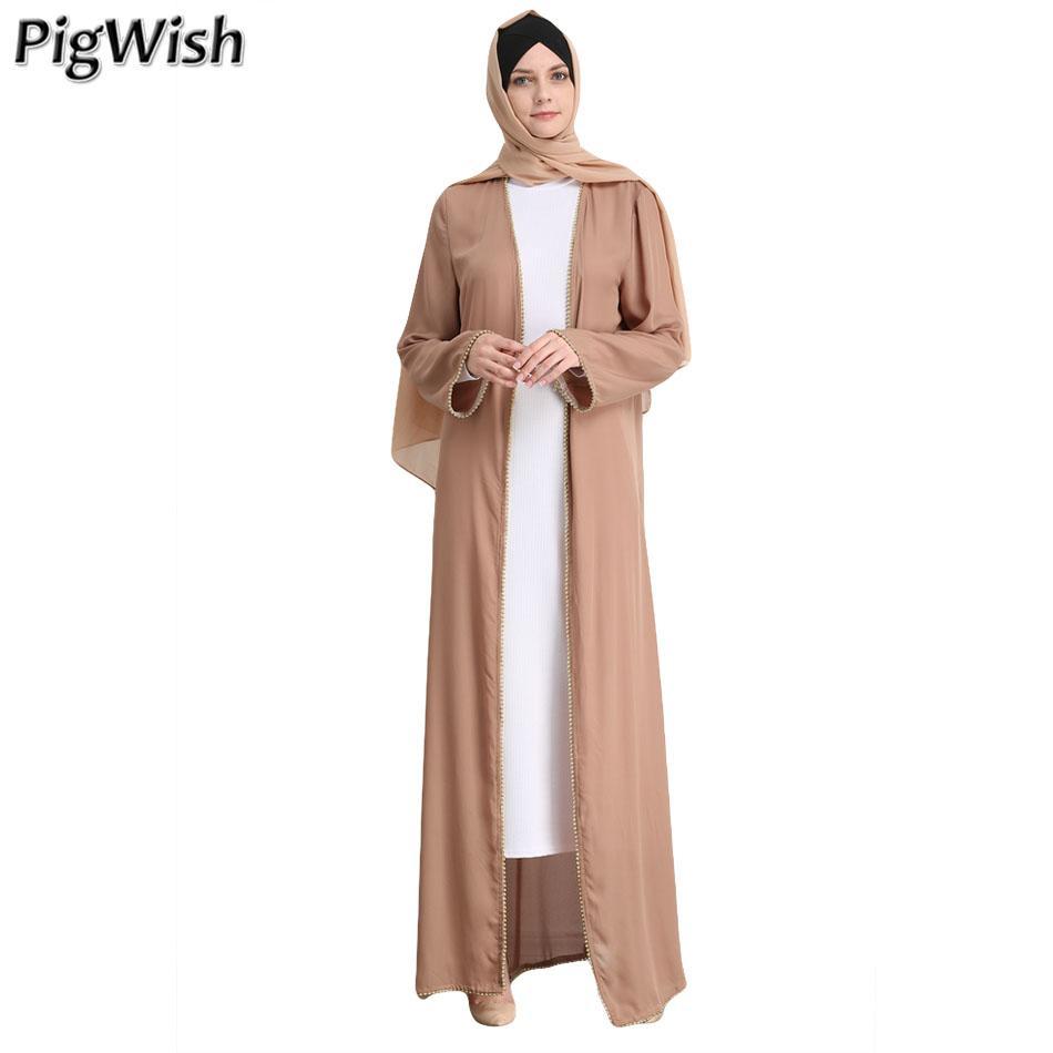54fb240dc9 Compre Pérola Abaya Dubai Muçulmano Vestido Longo Mulheres Robe Musulman  Kimono Ramadan Islâmico Kaftan Marroquino Turco Árabe Caftan Eid Mubarak De  ...