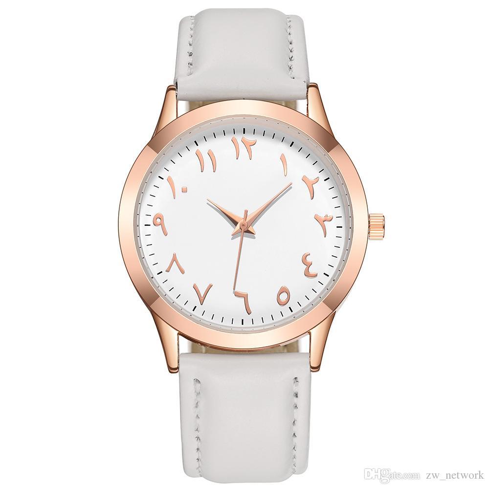 Relojes calientes del número árabe para las mujeres de los hombres Reloj del reloj del cuarzo del cuero de la vendimia Reloj Nuevo reloj de lujo de la correa de cuero genuino Relojes