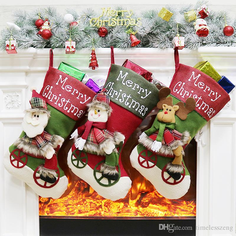 2018 New Arrival Christmas Stocking Socks Santa Claus Candy Bags Snowman Elk Large Gift Bag Xmas Tree Hanging Ornament Christmas Decoration
