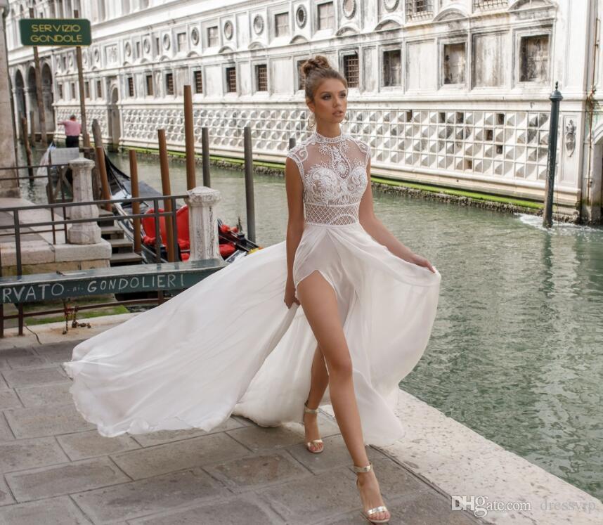 2018 Julie Vino Playa Vestidos de novia de encaje Tul lateral Lado partido Gasa Barrido Vestido Boho Vestido de novia Ilusión Vestidos de boda de talla grande