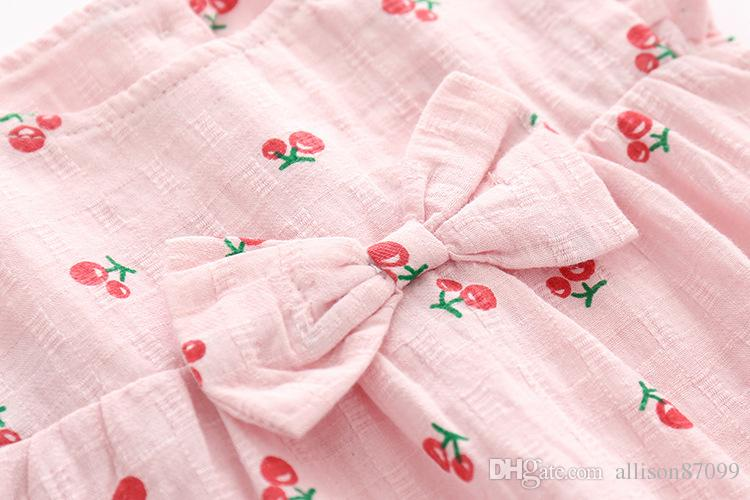 2019 Summer Boutique girl clothing Baby girl cherry Bow dress +panties+headband 100% cotton Hotsale 6 9 12 18 24M 3T