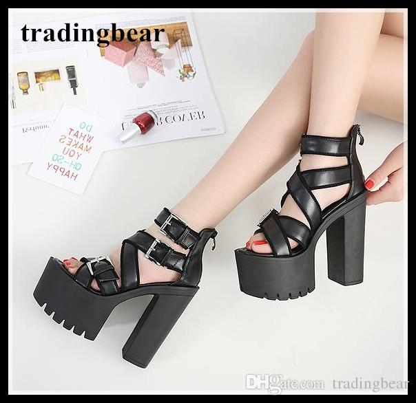 402861d7382 Chic Black Serated Sole Thick Platform Thick High Heel Gladiator Sandals  2018 Size 34 To 39 Gold Wedges Red Wedges From Tradingbear