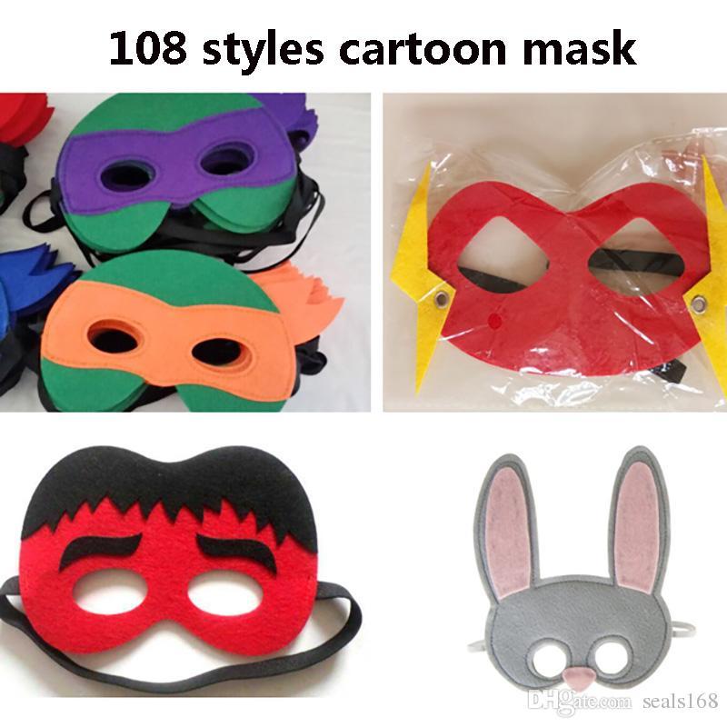 Halloween Cosplay Masks 108 Designs Cartoon Felt Mask Costume Party Masquerade Eye Mask Children Kids Christmas Birthday Gifts HH7-951