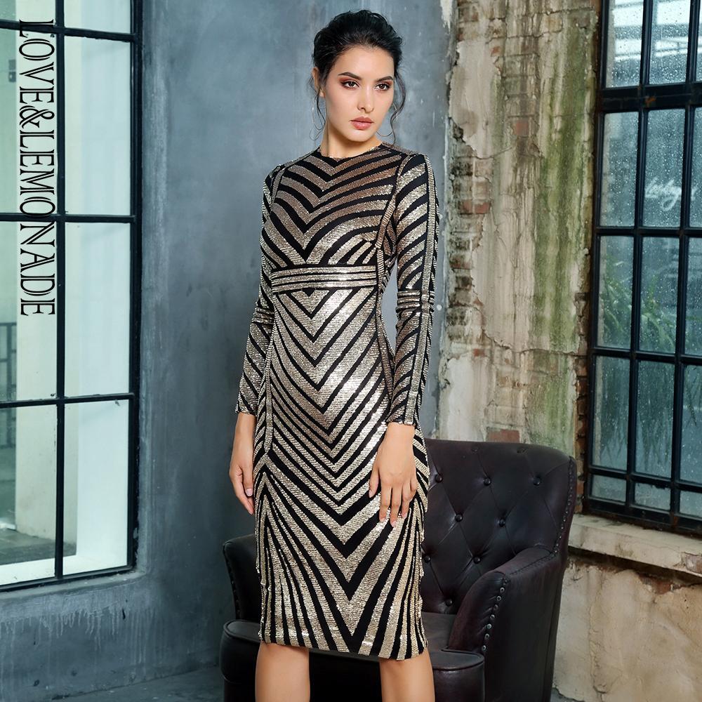 a09c2fe787235 Satın Al LoveLemonade O Boyun Altın Geometrik Esneklik Pullu Parti Elbise  LM6988, $69.23   DHgate.Com'da
