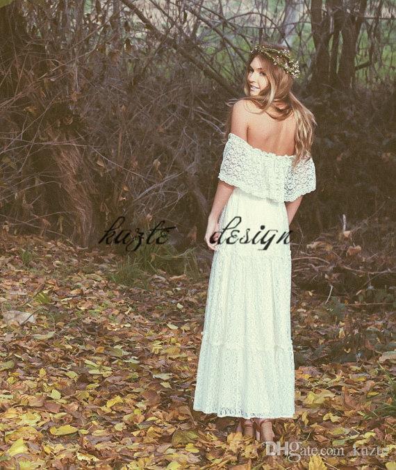 Vestido de novia bohemio 2018 vintage fuera del hombro de encaje marfil o blanco vestido de novia hippie bordado vestido de encaje maxi vestido de novia
