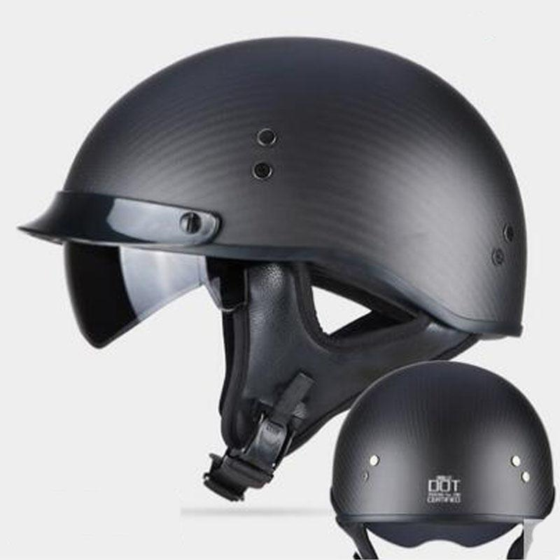 Retro helmet Carbon Fiber Half face Motorcycle helmet DOT approved Light style men women Open face with inner sungalsses
