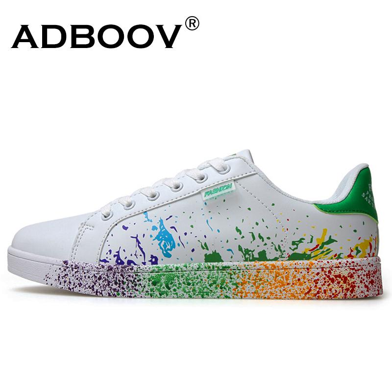 a39033212 2019 Boys Brand White Shoes Mix Colors Ink Painting Style Mens Shoes  Colorful White Man S Shoes Plus Large Size US 11 12 Euro 45 46 Sneakers Mens  Loafers ...