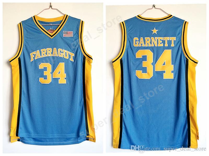 1ede1f215580 2019 Farragut College 34 Kevin Garnett Jersey Men Blue Embroidery Sale  Basketball Garnett High School Jerseys For Sport Fans High Quality From  Vip sport