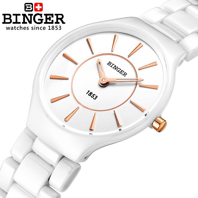 9d6217a76918 Compre Suiza Binger Cerámica Cuarzo Relojes De Mujer Amantes De La Moda  Estilo Reloj De Lujo Relojes De Pulsera 300M Resistencia Al Agua B8006 5  S924 A ...