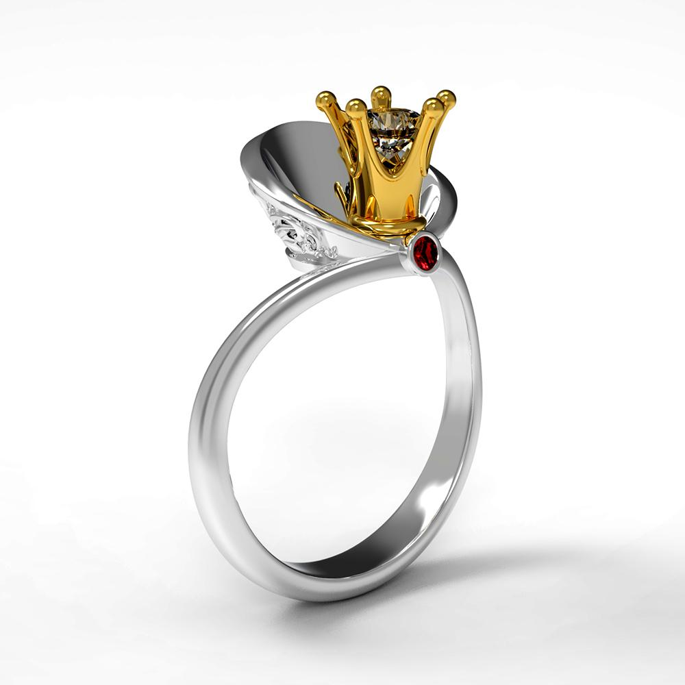 Queen Shawl Shaped Wedding Rings Two Tone Crown Ring For Women Rings