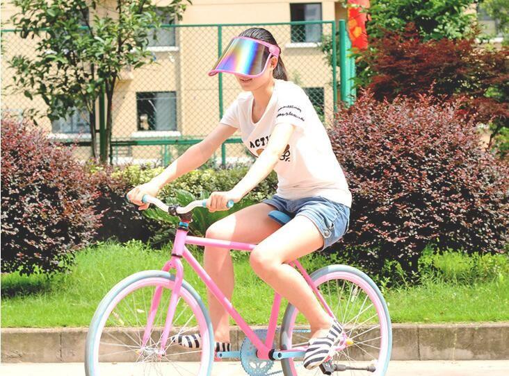 PVC Sunscreen Cap Cycling Visors For Car Anti UV Light Cap PC Sun Hat Colorful Board To Ride Sun Visors Sports Sun Hats