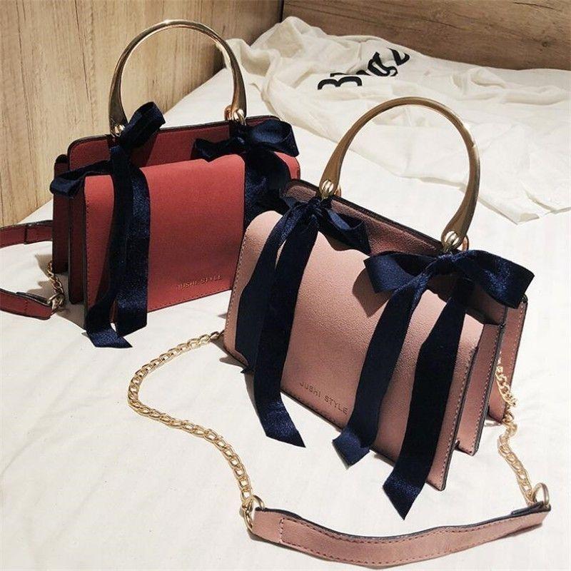 e0828d87f760 Women Handbag 2018 Hot Sale Simple Fashion Solid Bow Knot Organ Bag Pu  Leather Girl Casual Shoulder Crossbody Top Handle Bag Sac Leather Handbag  Red ...