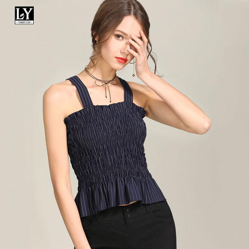 1bb58d7117 Ly Varey Lin Summer Stripe Tube Top Ruffle LeSleeveless Spaghetti Strap  Summer Sexy Bandeau Top Female Black White Tops T Shirts In A Day Awesome  Tee Shirt ...