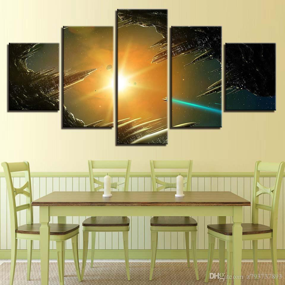 2018 Wall Art Pictures Home Decoration Posters Frame City Reflection ...