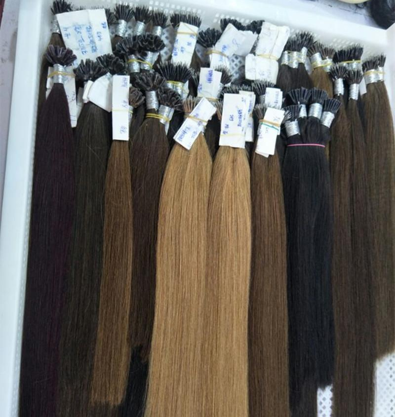 Renk 6 # Kestane Kahverengi İpek Düz 8A Nano Halka Saç Uzantıları 0.8g / sn 300st paketi Fabrika Göster 240g Nano Saç Uzatma