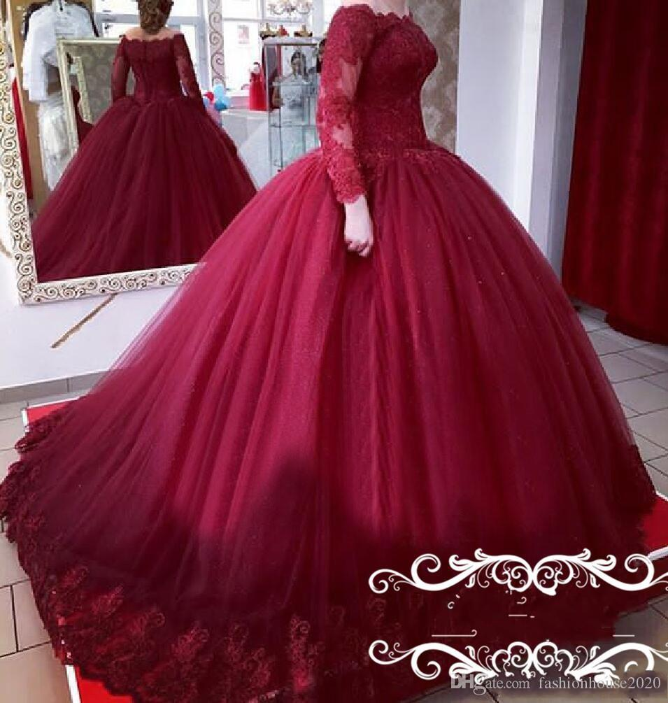 2020 Elegant Burgundy Ball Gown Quinceanera Dress Off Shoulder Long Sleeves Lace Appliques Puffy Sweet 16 Plus Size Prom Evening Gowns Wear