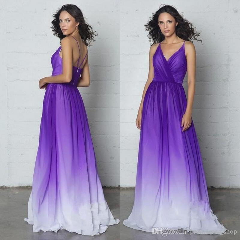 2018 Simple Cheap Ombre Gradiant Evening Formal Gowns Plus Size With