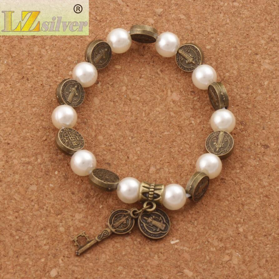 Hot Saint Benedict Perle Perlen Armband Stränge Antik Silber / Gold / Bronze Religiöse Patron Stretch Armbänder BB78