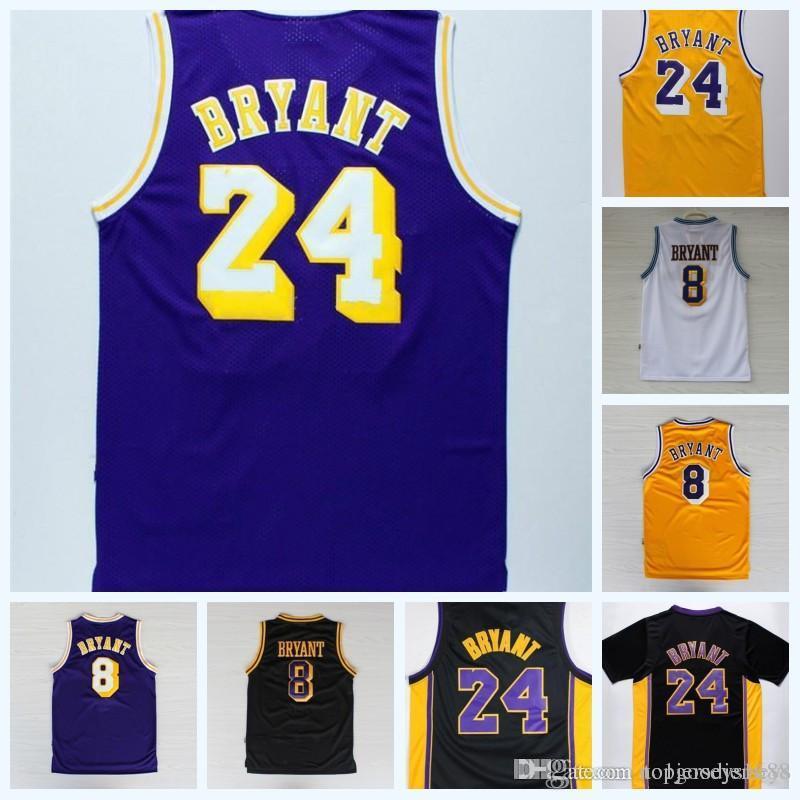 2018 Men Jersey 33 24 Bryant Yellow Purple Jersey Swingman 8 Kobe ... 5d0d2e261