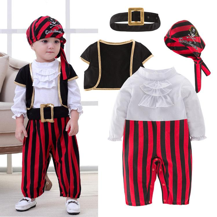 2aae061c7764b Pirate Captain Cosplay Clothes for Baby Boy Halloween Christmas Fancy  Clothes Halloween Costume for Kids Children Pirate Costume